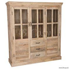J-Line Landelijke vintage vitrine kast 1914 Paris naturel ruw hout 145 Jline-by-Jolipa-57514
