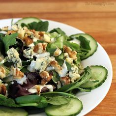 Salad Greens With A Taste of Britain...English Cucumbers, Walnuts, Stilton Blue Cheese..  				  					English Cucumbers, English Walnuts, & Stilton Blue Cheese Dressing