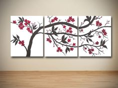 Original Brown and Red Cherry Blossom Triptych Painting on Canvas. $280.00, via Etsy.