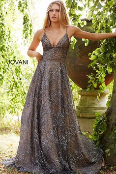 34f57033c7 jovani Silver and Nude Spaghetti Straps V Neck Evening Gown 52170 Prom  Dresses 2018