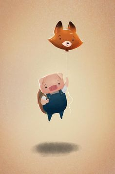 Pig and Fox from The Dam Keeper by Yingjue Chen for Sketch Dailies