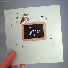 Geboortekaartje uiltje | Lievekaarten.nl | # birth announcement owl