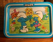 Smurf Tray!   Yep!   Dining room tables are not important