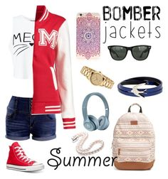 """""""Bomb Summer"""" by melceryan on Polyvore featuring Miss Selfridge, Boohoo, Converse, Rip Curl, Ray-Ban, McQ by Alexander McQueen, Gucci and bomberjackets"""
