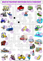 means of transport criss cross crossword puzzle vocabulary worksheet icon