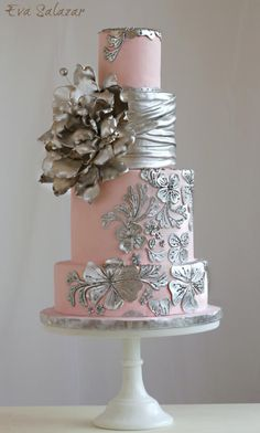 Blush and silver Romantic Wedding Cake by Eva Salazar - http://cakesdecor.com/cakes/230697-blush-and-silver-romantic-wedding-cake