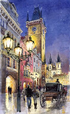Gallery of artist Yuriy Shevchuk: Prague Old Town Square 3 variant Prague Old Town, Art Watercolor, Old Town Square, City Painting, City Scene, Urban Sketching, City Art, Urban Landscape, Beautiful Paintings