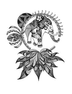 Elephant with Lotus Art Print