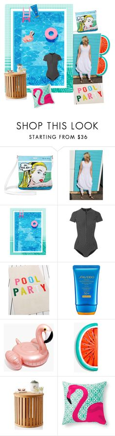 """""""Pool Party"""" by karen-style ❤ liked on Polyvore featuring Icon, Lisa Marie Fernandez, ban.do, Shiseido, Madewell, Mark & Graham, Grandin Road, dress, Leggings and poolparty"""