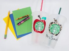 Personalized Starbucks Cup, Custom Starbucks Cup, Personalized Cups, Starbucks Venti, Starbucks Tumbler, Cute Cups, Gift Bows, Mild Soap, Teacher Gifts