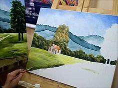 Como pintar casinha e gramado - Pintura em tela para iniciantes - How to...