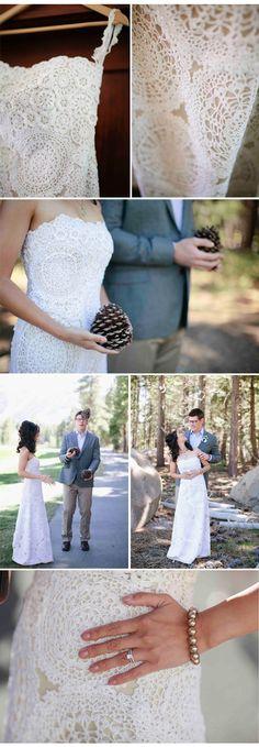 DIY no-sew doily wedding dress details | via cwfrosting.co
