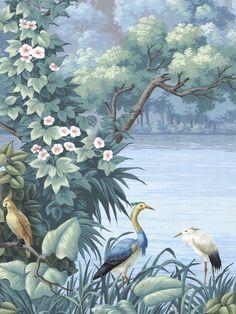 Brésil is a tropical landscape filled with exotic birds and brilliant flowering foliage. Botanical Art, Botanical Illustration, Jungle Art, Tropical Wallpaper, Tropical Art, Tropical Gardens, Tropical Landscaping, Landscape Wallpaper, Trendy Wallpaper