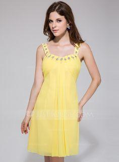 Empire Scoop Neck Knee-Length Chiffon Homecoming Dress With Ruffle Beading (022027063) - JJsHouse