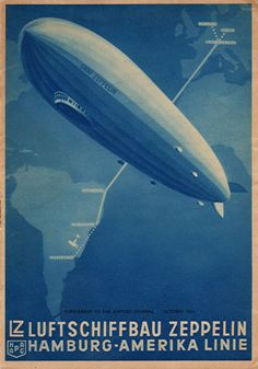 Graf Zeppelin Route Poster by Vintage Advertisements, Vintage Ads, The Art Of Flight, Art Graphique, Thing 1, Vintage Travel Posters, Illustrations And Posters, Dieselpunk, Led Zeppelin