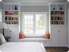 built in shelves and reading bench- LOVE