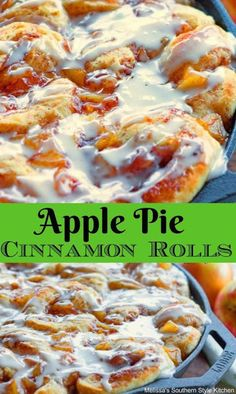 Why choose between apple pie and cinnamon rolls when you can have both! These Apple Pie Cinnamon Rolls are a gooey golden treat. Cinnamon Roll Apple Pie, Cinnamon Roll Casserole, Cinnamon Rolls With Apples, Pizza Dough Cinnamon Rolls, Hamburger Casserole, Chicken Casserole, Breakfast Pastries, Breakfast Recipes, Pie Cake