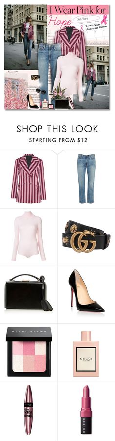 """I wear pink for Hope..."" by nannerl27forever ❤ liked on Polyvore featuring AlexaChung, Vince, Courrèges, Gucci, Mark Cross, Christian Louboutin, Carla Zampatti, Bobbi Brown Cosmetics and Maybelline"