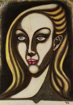 Female Portrait, Woman Portrait, Surealism Art, Original Paintings, Original Art, Abstract Portrait, Painting Abstract, Pastel Portraits, Painting Process