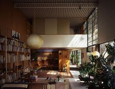 The Eames house living room as it is best known, shot in 1994. The light from the window illuminates the tumbleweed the couple picked up on their honeymoon drive from Chicago to Los Angeles; due to its fragility it was the only item not to have been moved to the LACMA exhibition. Photo courtesy Tim Street-Porter.