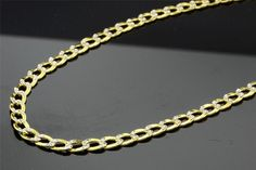 14kt Yellow Gold Cuban White Pave Chain 7.1 mm Width 26.0 Inch Long (43.7 Grams) by RG&D..|||| #14kt #gold #chain #jewelry #metal #goldchain #whitegold #yellowgold #mens #women #his #her #style #fashion #online #shopping #chains #goldchains #follow #pinterest #richmondgoldanddiamond