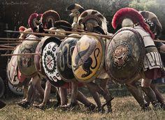 Ana Belén illustration: Greek Hoplites charging in phalanx formation