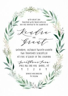 Whimsical Floral Wedding Invitation Featuring Rustic Wreath