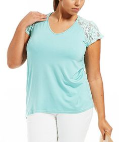 This Green Lace Louna Tee - Plus is perfect! #zulilyfinds