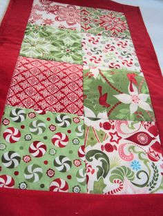 Christmas Table Runner  Red and Green