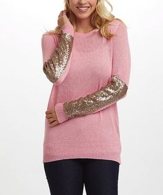 This Pink Semisheer Sequin-Sleeve Sweater is perfect! #zulilyfinds