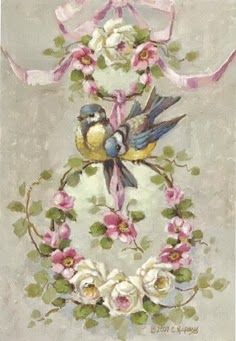 Christie Repasy Spring Cheer Original Canvas Print, featuring a love birds on top of pink ribbon hanged round twigs with spring flowers, this canvas print is an original painting by Christie Repasy. Arte Shabby Chic, Decoupage Vintage, Images Vintage, Vintage Postcards, Arte Floral, China Painting, Bird Art, Vintage Flowers, Vintage Prints