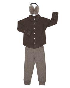 Kids Flannel Long Sleeve Button-Up, Kids Tri-Blend Rib Legging