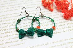 Boho hoop earrings Bohemian hand knitted jewelry by byHamelin, $17.00