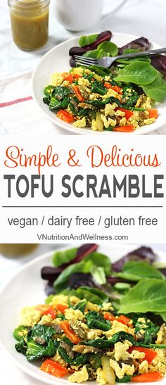 Simple Tofu Scramble | Have yourself a quick and healthy breakfast with this simple tofu scramble which can be ready in about 10 minutes! via @VNutritionist