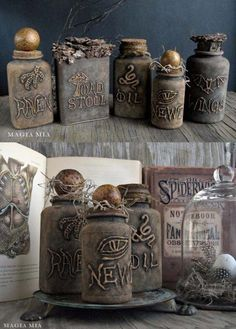 Glue Gun and Chalk Paint Witchcraft Bottles Art  |   http://diyjoy.com/hot-glue-gun-crafts-ideas