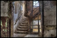 Stairway in an abandoned children's insane asylum.