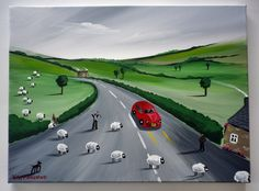 """VAN MARCIANO """"THE SHEEP HAVE ESCAPED"""" HAND-PAINTED CANVAS ART, COTTAGE, RURAL"""