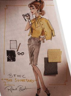 """The Secretary"" Barbie design sketch (w/ swatches) by Robert Best"