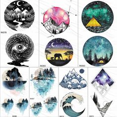OMMGO Watercolor Geometric Moutain Camping Temporary Tattoos For Kids Sticker Surf Wave Forest Tattoo Body Art Arm Fake Tatoos - AliExpress Diy Tattoo Permanent, Temporary Tattoo, Moutain Tattoos, Forest Tattoos, Forest Tattoo Arm, Tatoo 3d, Colour Tattoo For Women, Geometric Tattoo Design, Geometric Tattoos