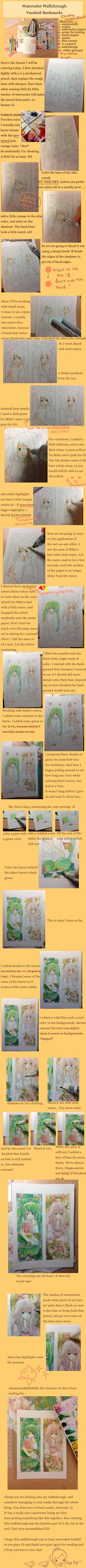 Watercolor Walkthrough: Vocaloid Bookmarks by carrot-milk on DeviantArt