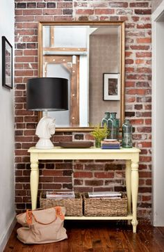 New York apt entryway~ interior, entry tables, foyer, hous, hallway, exposed brick, entryway, console tables, accent walls