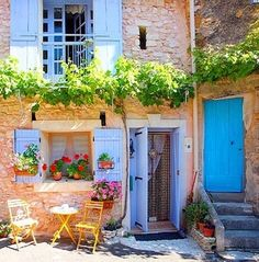 Courtyard, Provence, France, at Blue Pueblo | Blue Doors