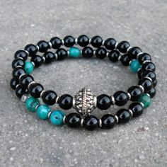 Patience and truth, Turquoise and onyx mala bracelet stack