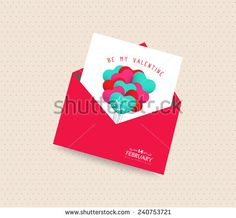 be my valentine day greeting card with envelope balloons