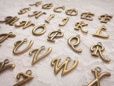 SALE  26 Alphabet Letter Charms  Antique Bronze by LadyCollection, $2.99
