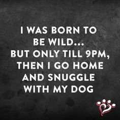 I was born to be wild... but only till 9PM, then I go home and snuggle with my dog - quote.
