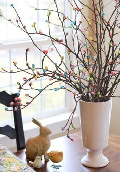 Hot glue jelly beans to tree branches for an adorable DIY craft Easter Tree. NIce Easter holiday or spring time idea. Spring Crafts, Holiday Crafts, Holiday Fun, Holiday Decor, Holiday Meals, Thanksgiving Crafts, Thanksgiving Table, Thanksgiving Decorations, Christmas Decor