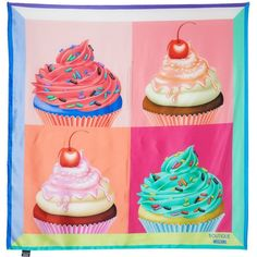 Boutique Moschino Large cupcake square silk scarf (11410 RSD) ❤ liked on Polyvore featuring accessories, scarves, square scarves, silk scarves, square silk scarves, silk shawl and pure silk scarves