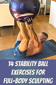 14 Stability Ball Exercises for a FullBody Sculpting Workout Clickthrough for 14 fun stability ball exercises that can sculpt your entire body A complete workout Fun Workouts, At Home Workouts, Workout Exercises, Body Workouts, Triathlon, Biceps, Over 50 Fitness, Body Sculpting Workouts, Full Body Training