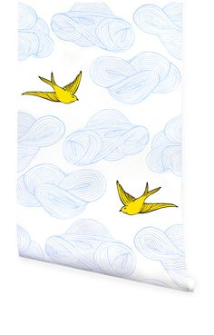 Hygge & West | Daydream (Sunshine) not sure if it's wrapping paper or wall paper, just love the design with yellow birds